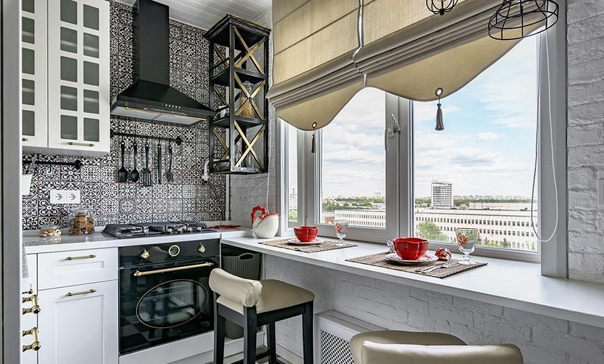 Дизайн стола в подоконнике для кухни