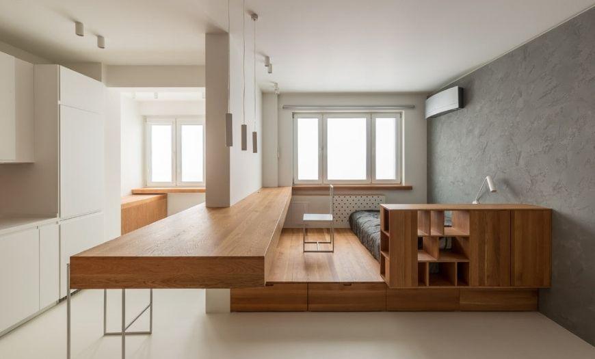 Квартира-студия ламинат и плитка