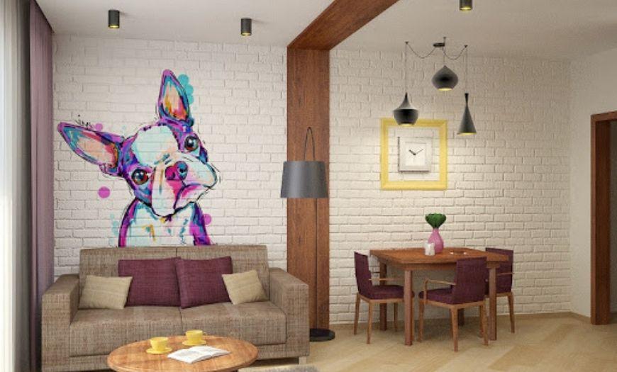 Квартира-студия покрашенная стена