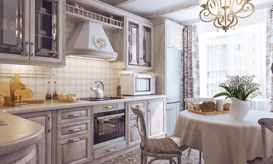 Кухня 9м кв в стиле прованс