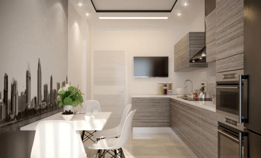 современный дизайн кухни 9 кв м