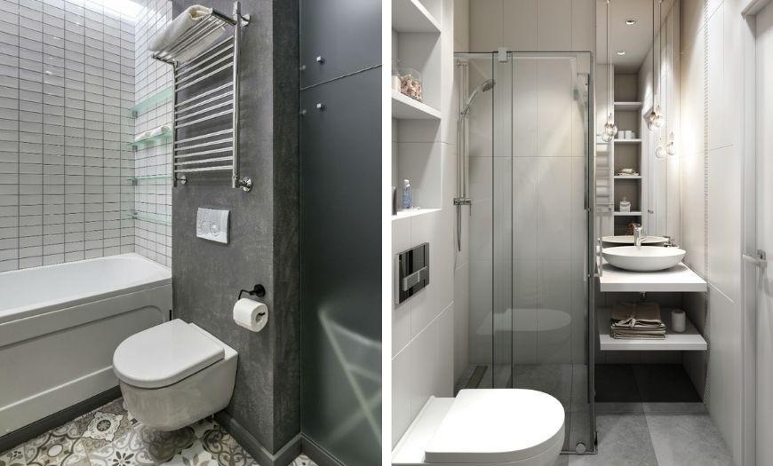 Ванная в квартире-студии в тёмных тоннах