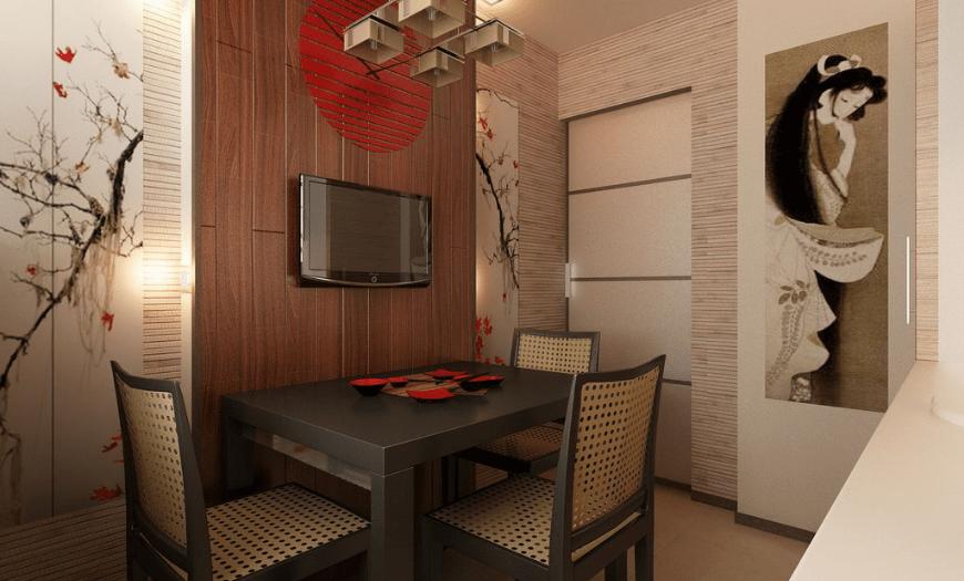 Дизайн кухни 9 метров в японском стиле