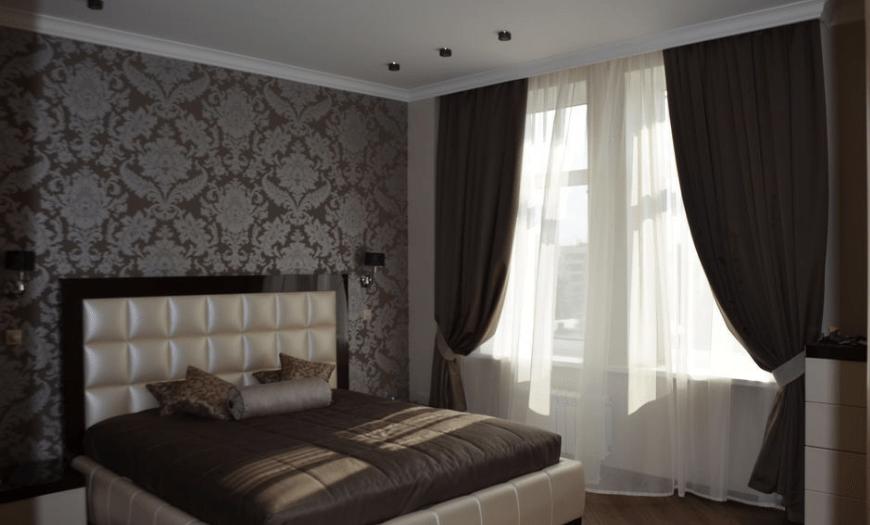 коричневые обои в спальне фото