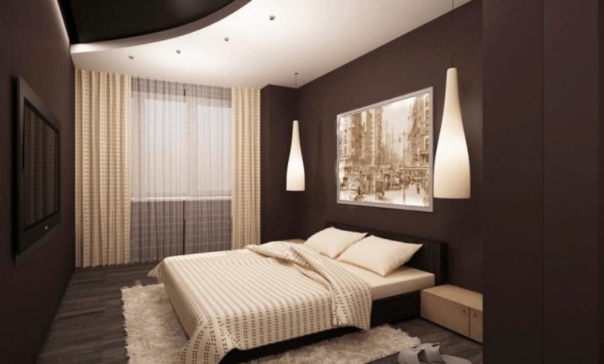 шторы к коричневым обоям в спальне