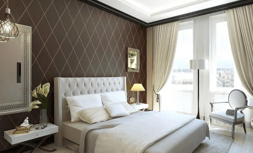 коричневый цвет обоев в спальне