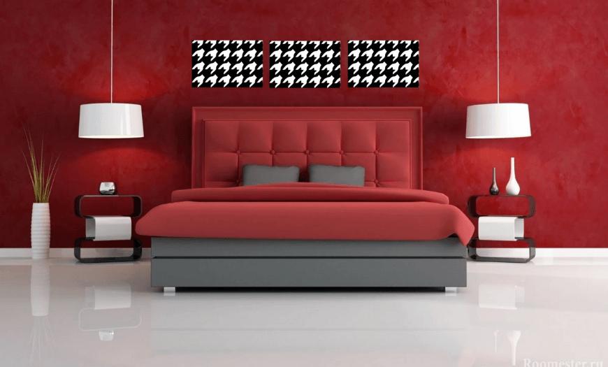Красные обои в интерьере спальни