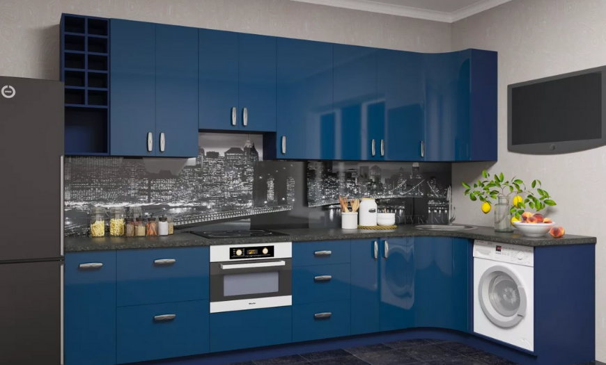 кухни синего цвета