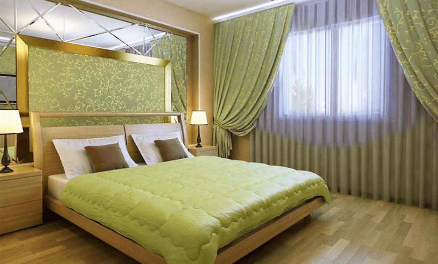 зеленые обои в спальне какие шторы