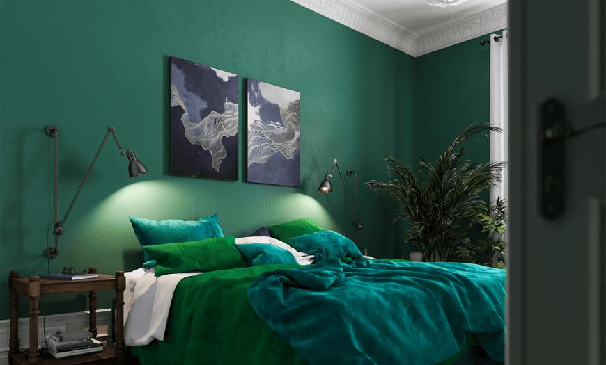 обои в спальню зеленого цвета