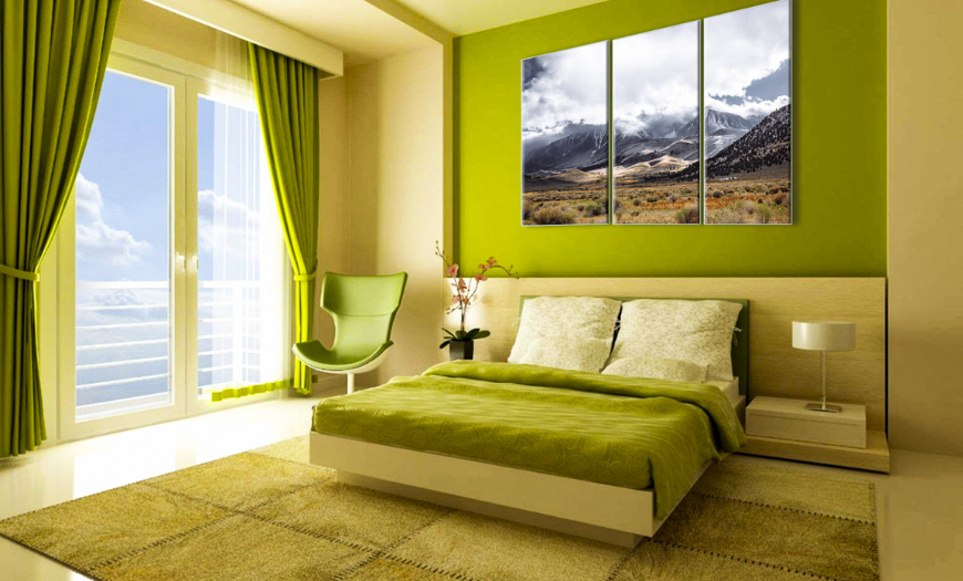 светло зеленые обои в спальне