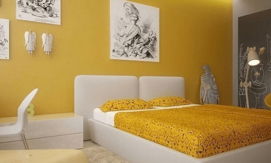 желтые обои в спальне фото