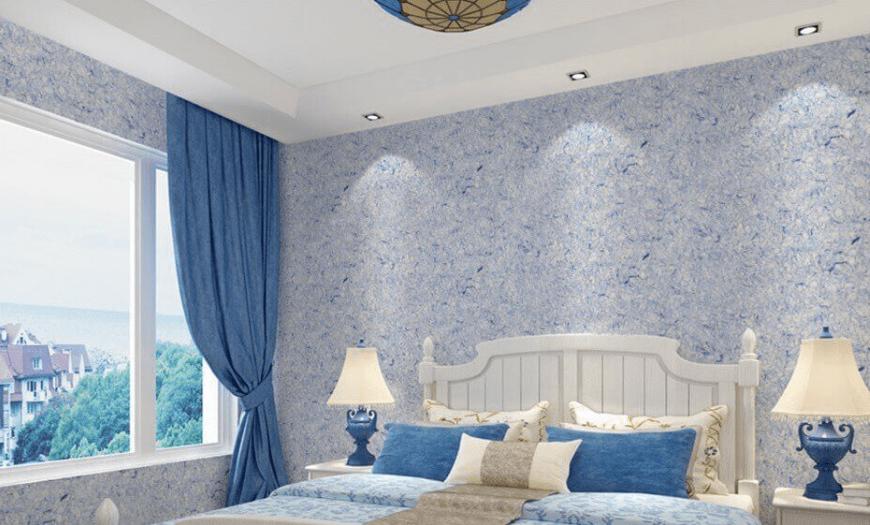 жидкие обои в дизайне спальни