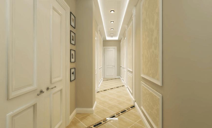 оформление узкого коридора в квартире фото