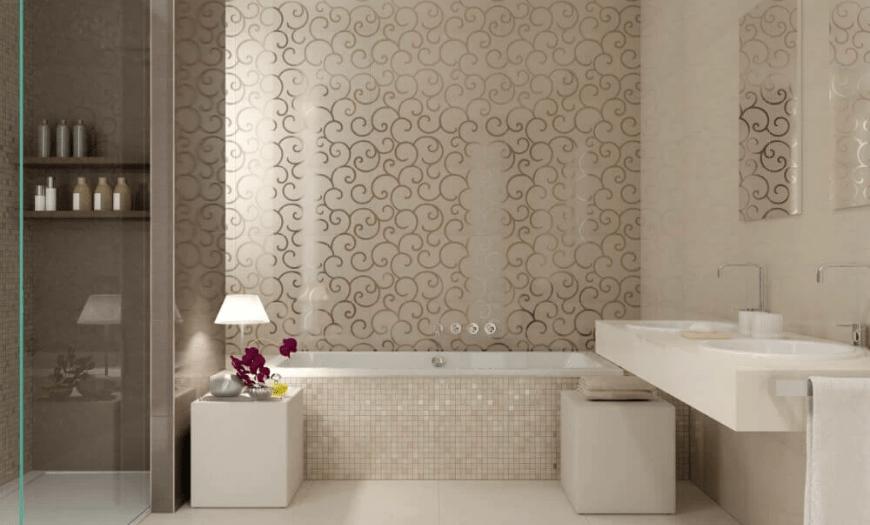 скульптурная плитка на стенах в ванной