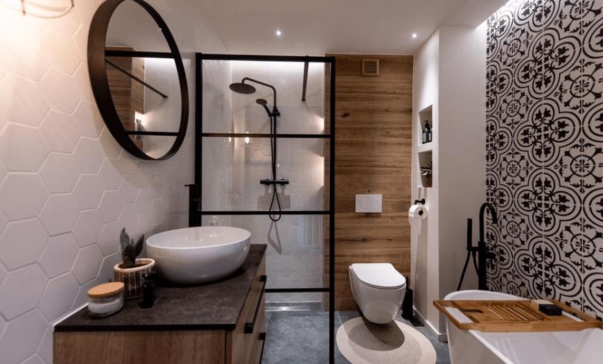 дизайн ванных комнат совмещенных с туалетом фото