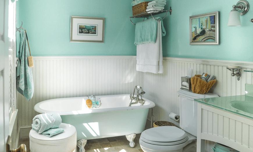 Мятный дизайн ванной