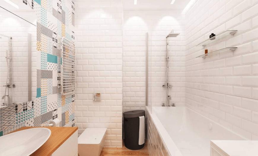 Скандинавский стиль совмещенной ванны