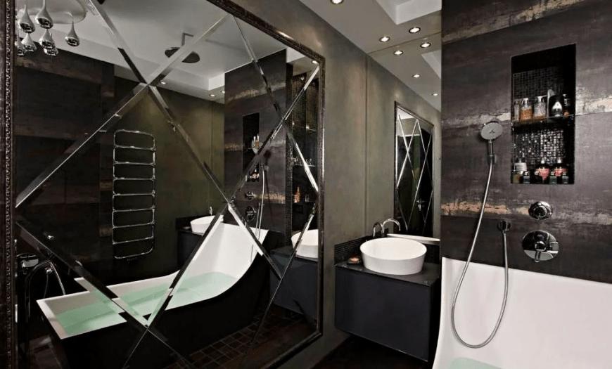 необычный дизайн ванной комнаты с туалетом