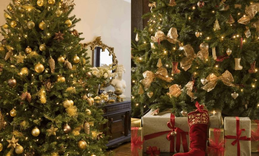 золотые украшения на елочку