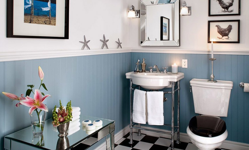 Дизайн туалета в голубом цвете