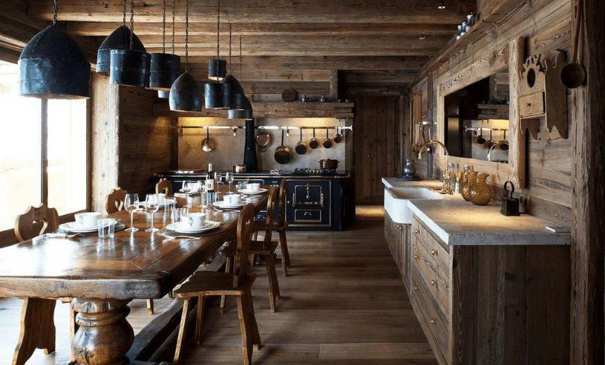 Кухня гостиная в стиле Шале