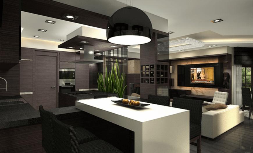 Кухня и гостиная в темных оттенках