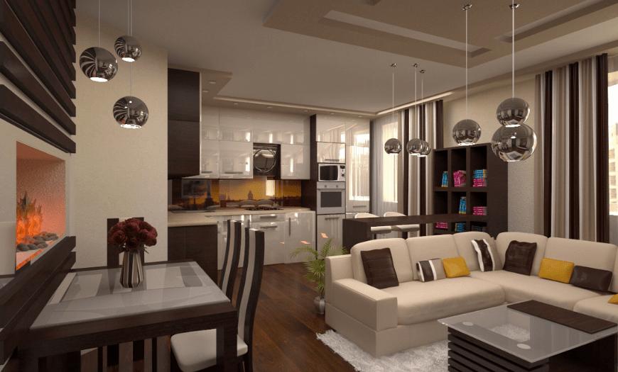 Кухня, совмещенная со столовой в квартире-студии