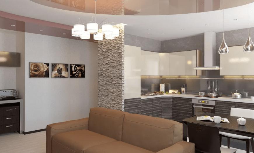 Интерьер кухни-гостиной в новостройке