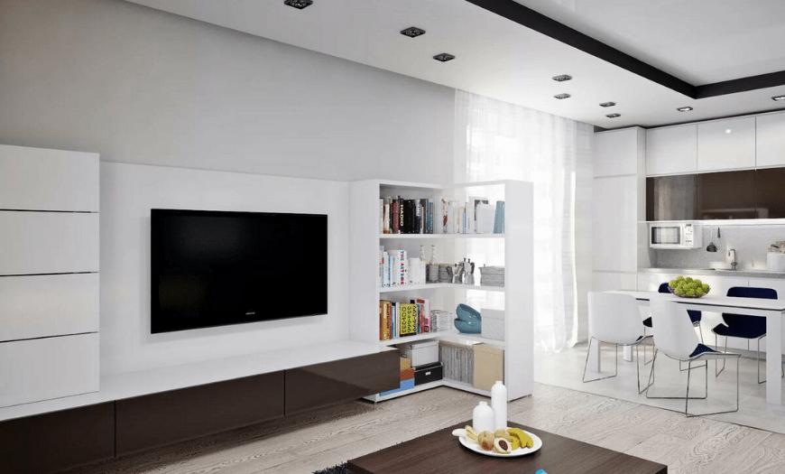 стиль минимализм в интерьере кухни-гостиной