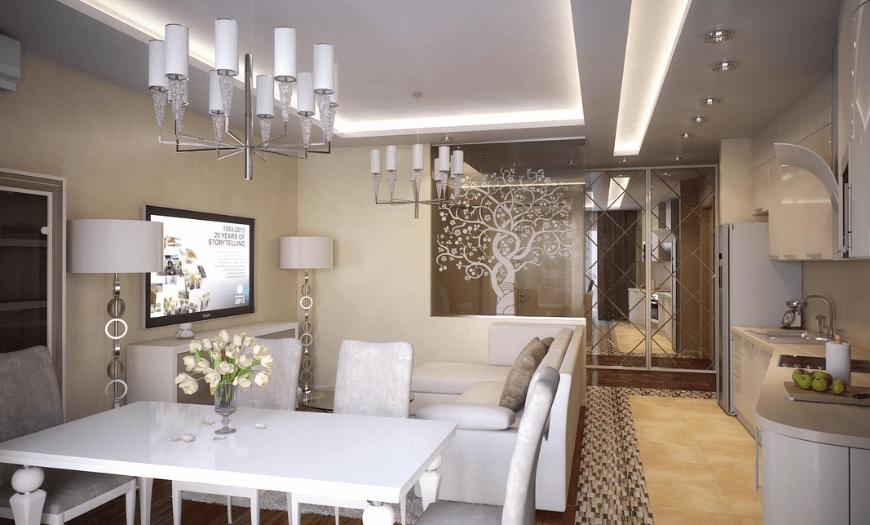 Интерьер кухни гостиной в стиле арт-деко
