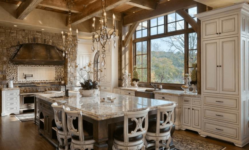 Кухня гостиная в стиле кантри