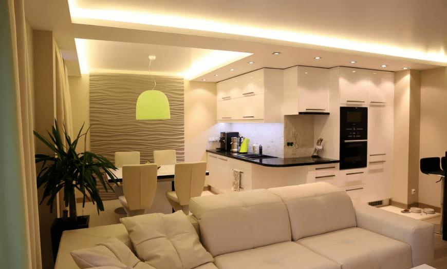 Освещение и подсветка в кухне гостиной