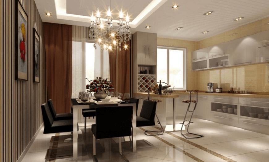 подсветка в кухне-гостиной
