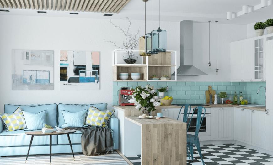 Дизайн кухни-гостиной в маленькой квартире