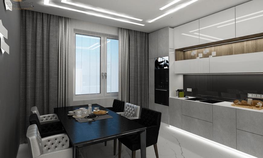 Прямоугольная гостиная кухня