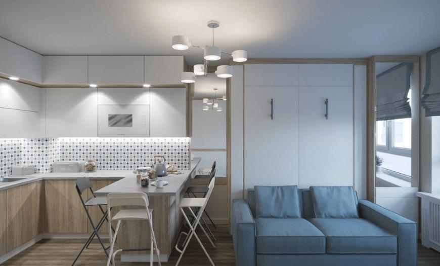 Квадратная кухня с гостиной