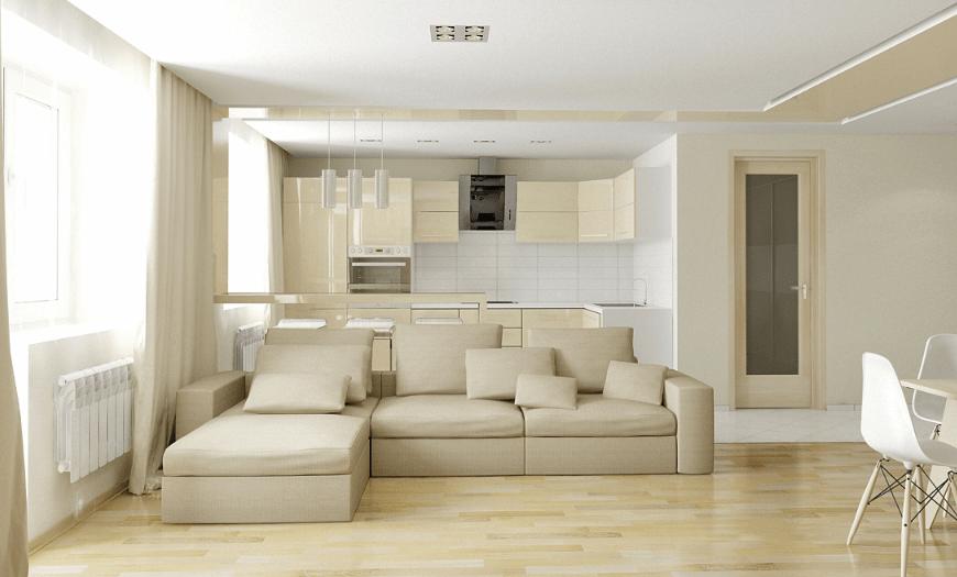 Кухня, совмещенная с гостиной с двумя окнами