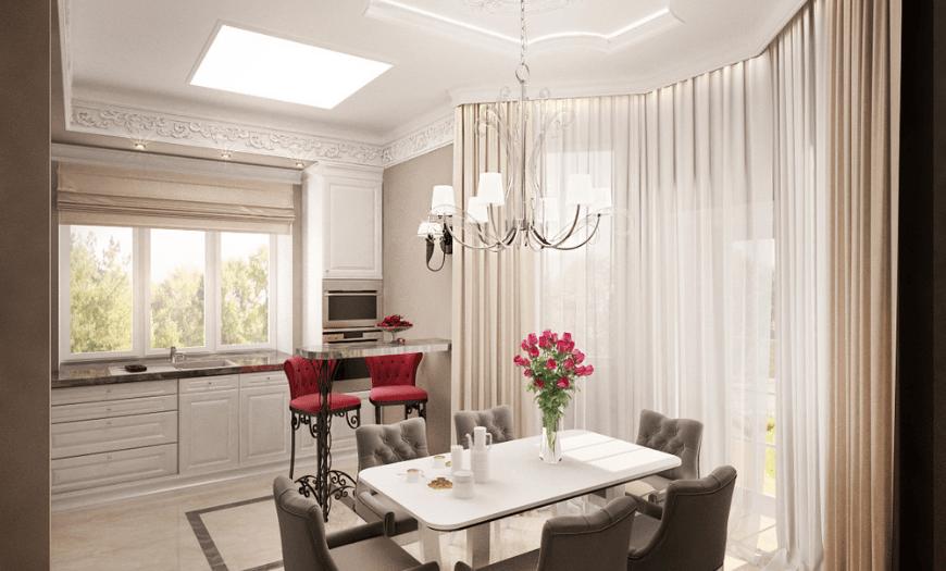 Кухня гостиная с эркером