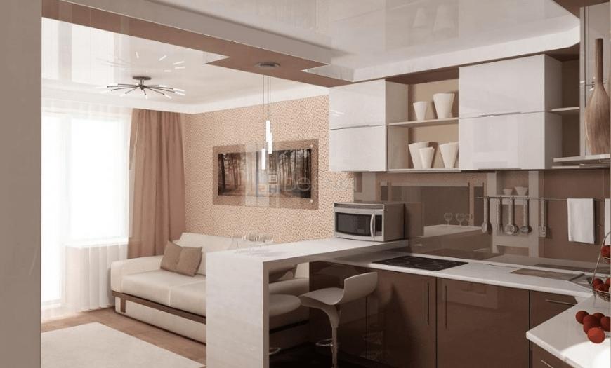 Кухня гостинная с одним окном