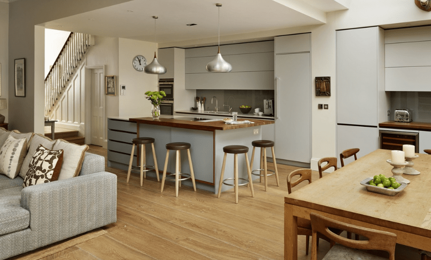 Открытая кухня гостиная