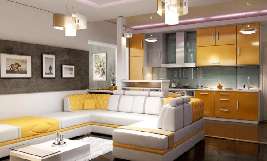 Объединение кухни гостиной цветовыми решениями