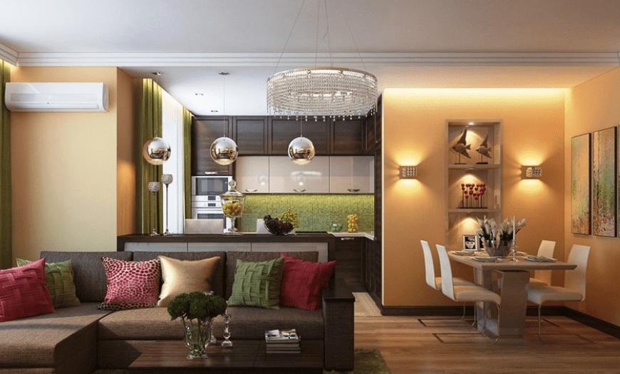 Объединение кухни гостиной цветом