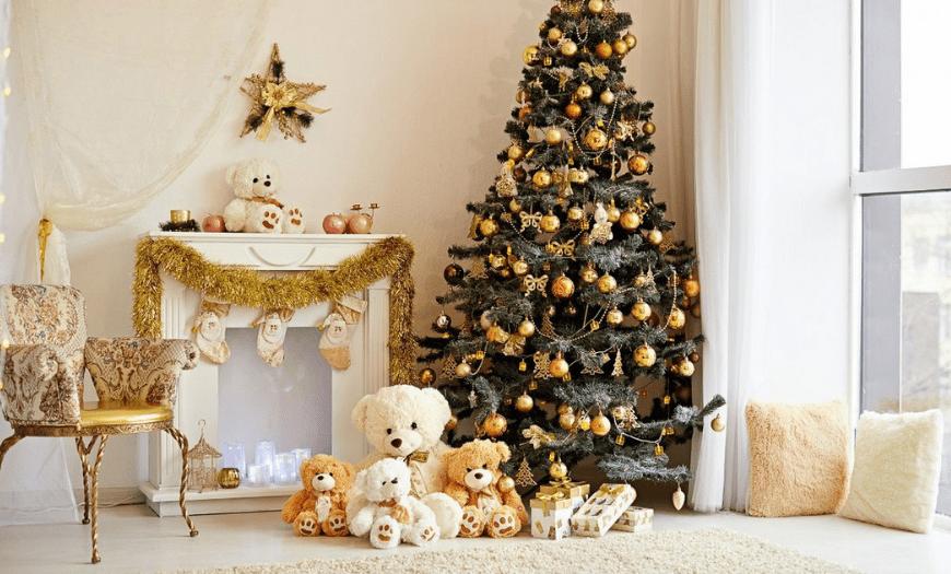 Украшаем квартиру на новый год в золотых оттенках