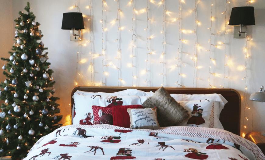 Интерьер спальни к новогодним праздникам