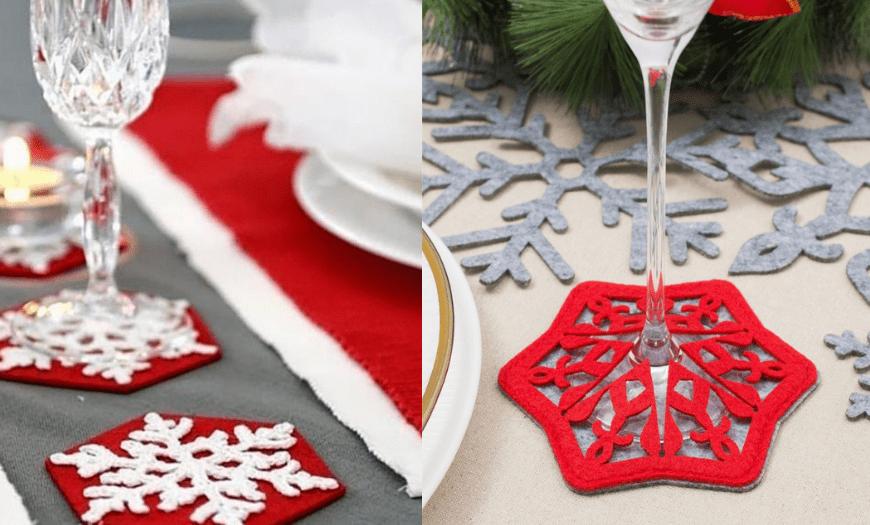 Декор новогоднего стола снежинками
