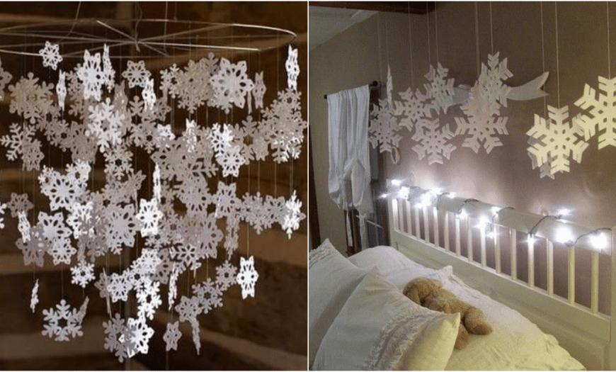 украшаем дом снежинками