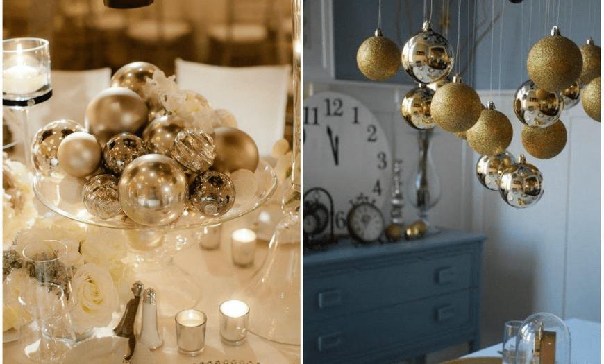 Декор елочными шарами