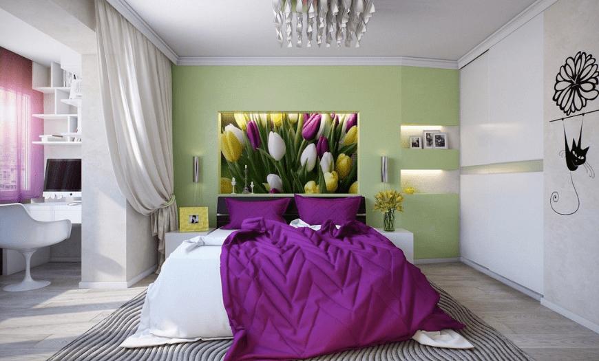Совместимость цветов с фиолетовым в интерьере