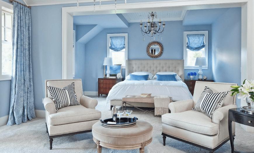 Сочетание голубого и бежевого  в дизайне комнаты